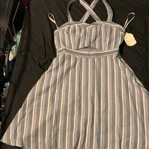 Grey/blue and white striped dress